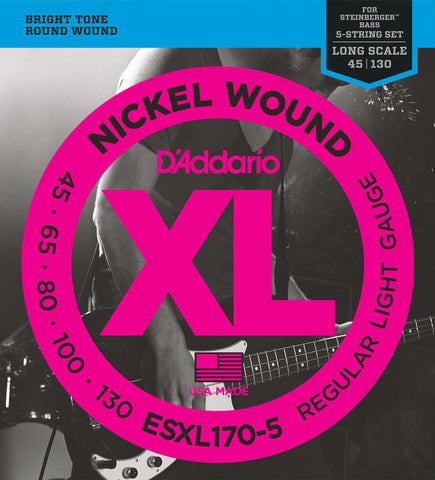 D'Addario ESXL170-5 Nickel Wound 5-String Bass Light 45-130 Double Ball End Long Scale