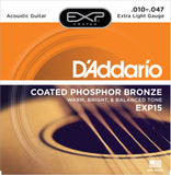 D'Addario EXP15 Coated Phosphor Bronze Extra Light 10-47