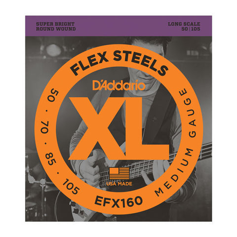 D'Addario EFX160 FlexSteels Bass Medium 50-105 Long Scale