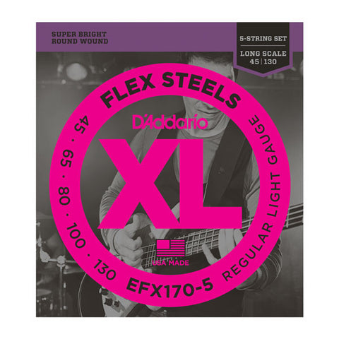 D'Addario EFX170-5 FlexSteels 5-String Bass Light 45-130 Long Scale