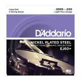 D'Addario EJ60+ 5-String Banjo Nickel Light Plus 9.5-20