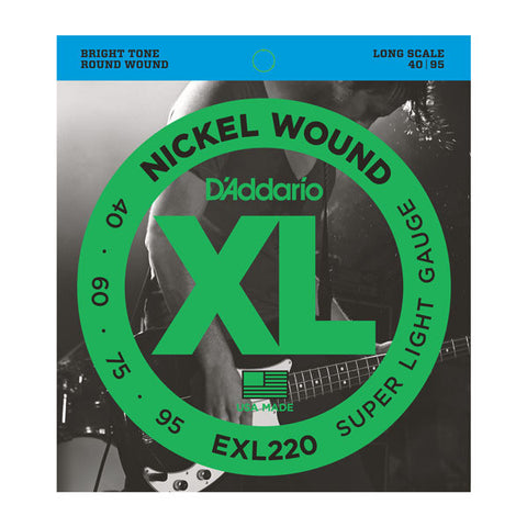 D'Addario EXL220 Nickel Wound Bass Super Light 40-95 Long Scale