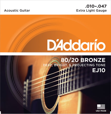 D'Addario EJ10 80/20 Bronze Wound Acoustic Guitar Strings Extra Light 10-47