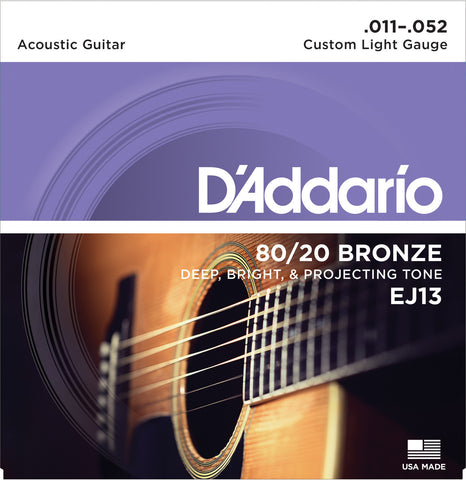 D'Addario EJ13 80/20 Bronze Wound Acoustic Guitar Strings Custom Light 11-52