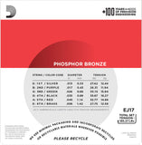D'Addario EJ17-3D 3 Pack Phosphor Bronze Wound Medium 13-56