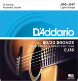 D'Addario EJ36 80/20 12-String Bronze Wound Acoustic Guitar Strings Light 10-47