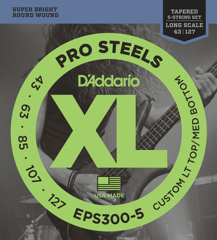 D'Addario EPS300-5 ProSteels 5-String Bass Custom Lt Top / Med Bot 43-127 Tapered Long Scale