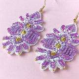 AYADA Leaf Embroidery Jewelry Earrings in Lavender