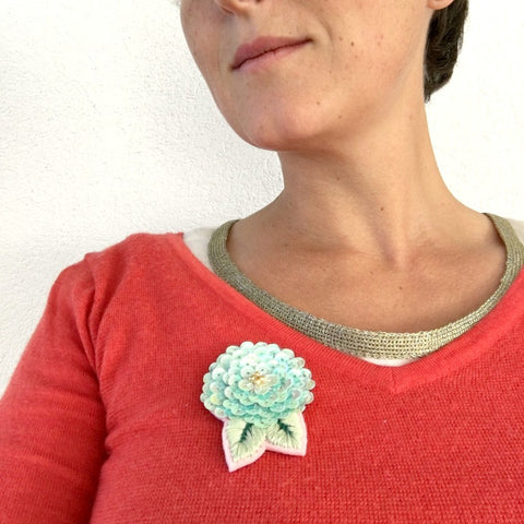 Camellia Flower Jewelry Brooch in Mint Shades