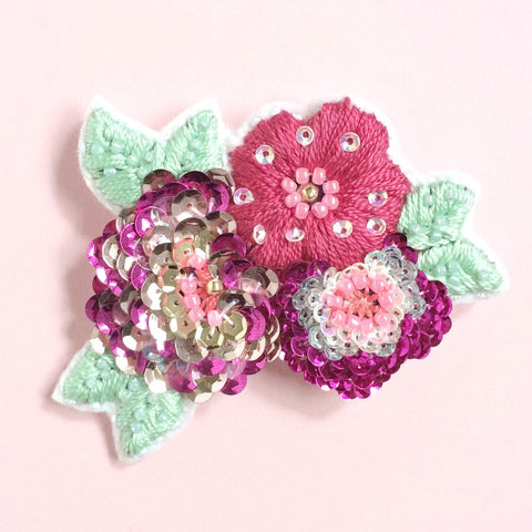 Anemone Flower Brooch in Raspberry Gold Pink Shades