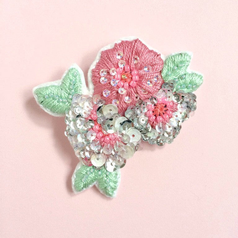 Anemone Flower Brooch in Rose Pink Silver Shades