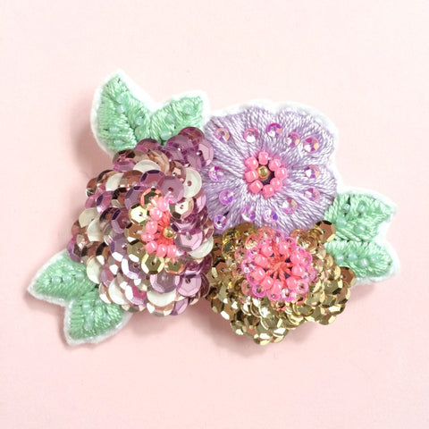 Anemone Flower Brooch in Lavender Rose Gold Shades
