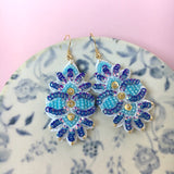 AYADA Leaf Embroidery Jewelry Earrings in Blue
