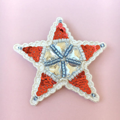 Red Sequins Lace Embroidered Star Brooch