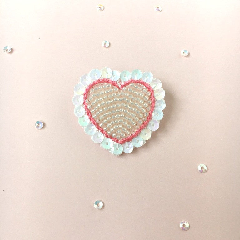 Embroidery Heart Jewelry Brooch in Peach, Coral & White