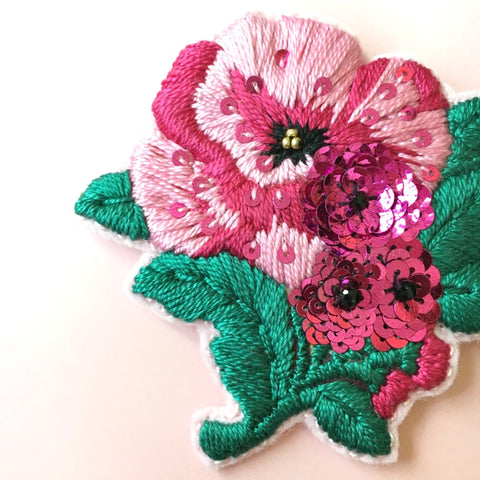 Pink Poppy Flower Embroidery Jewelry Brooch