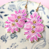 Leaf Embroidery Jewelry Earrings in Pink
