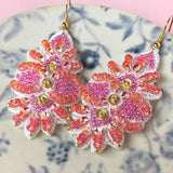 AYADA Leaf Embroidery Jewelry Earrings in Red & Pink