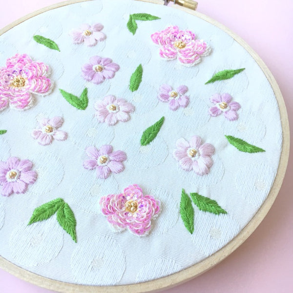 SAKURA Hoop Art Embroidery Cherry Blossom