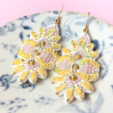 AYADA Leaf Embroidery Jewelry Earrings in Yellow
