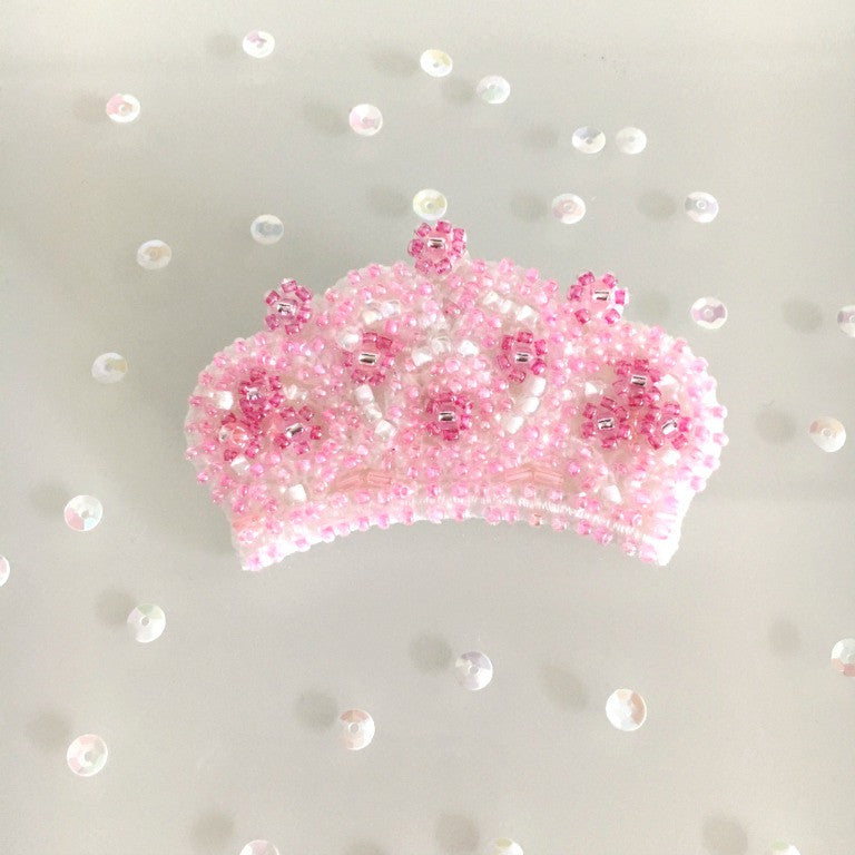 Pink Beaded Embroidery Tiara Brooch