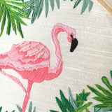 Hand-Embroidery Pink Flamingo Hoop Wall Art