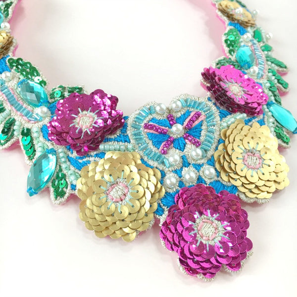 Embroidery Jewelry Necklace in Blue Pink Gold Shades