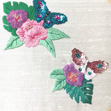 Tropical Flower Butterfly Embroidery Hoop Art