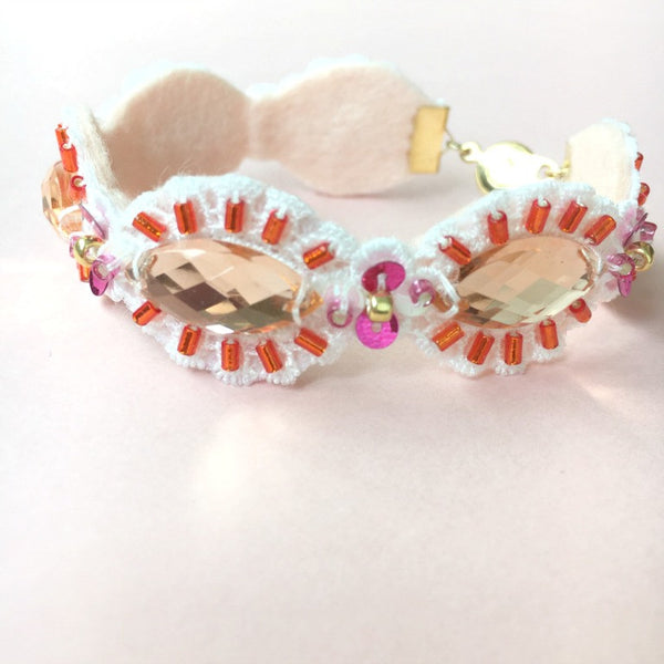 Peach Gemstone Beads Jewelry Embroidery Bracelet
