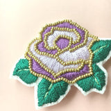 Lavender Modern Embroidery Rose Jewelry Brooch