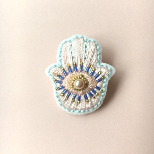 Fatima Hamsa Hand Jewelry Brooch in Peach & Blue