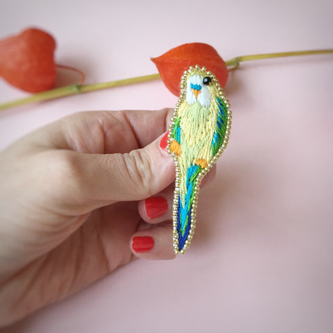 5. NEW! Yellow Green Embroidered Parakeet Tropical Bird Brooch