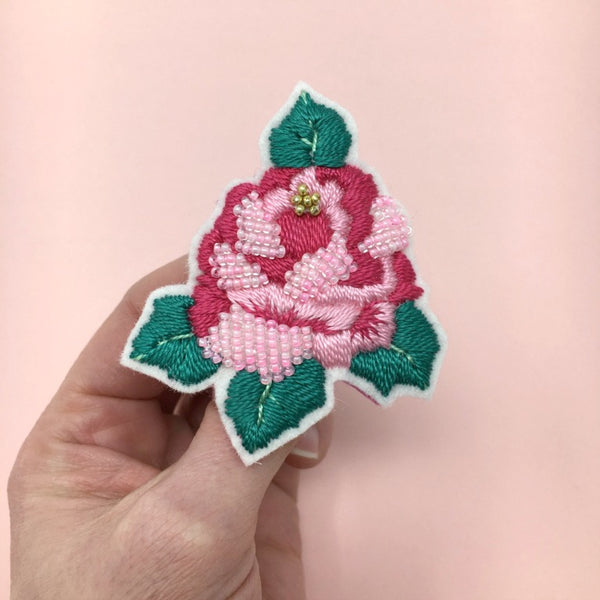 Pink Embroidery Rose Brooch Floral Accessory