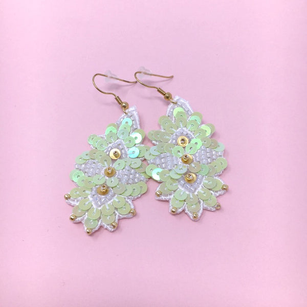 Leaf Embroidery Jewelry Earrings in Mint Green