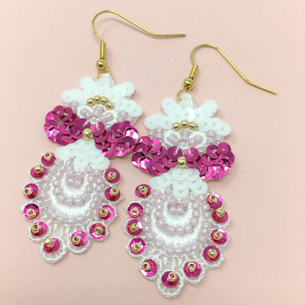 Embroidered Lace Jewelry Earrings in Pink