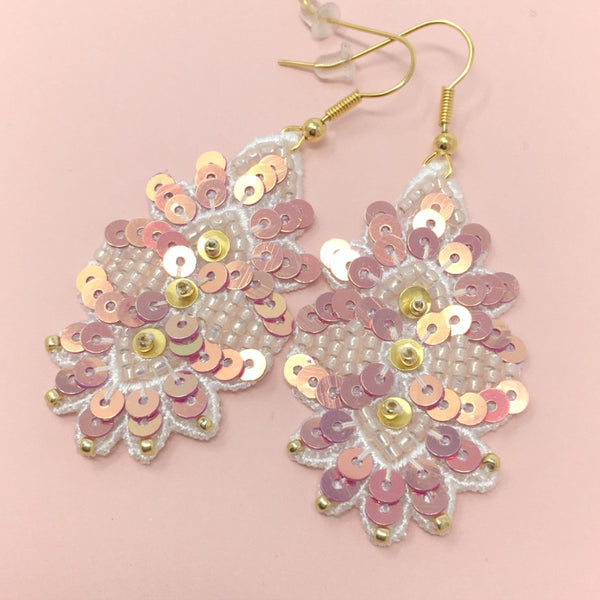 Pink Leaf Embroidery Jewelry Earrings