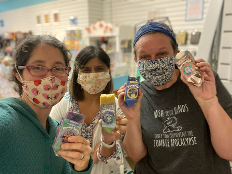 Brooke Rothshank, Jasmine Wall, and Jenny Frech show off Kettle Lake Forest labels