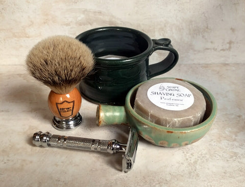Shaving supplies at Soapy Gnome shop in Goshen, Indiana