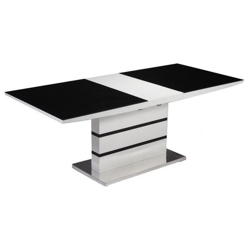 Aldridge White High Gloss Dining Table with Black Glass Top-Furniture-Retail Therapy Interiors