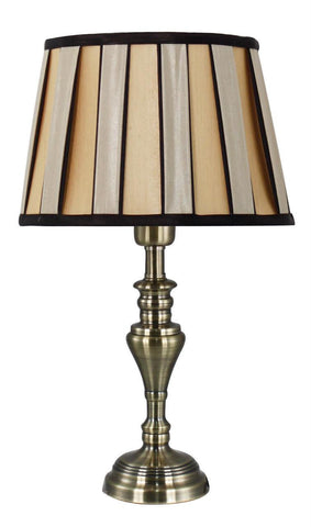 Antique Brass Small Table Lamp with Bronze and Black Shade-Lighting-Retail Therapy Interiors