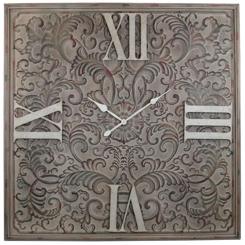 Antique Brown Tracery Wall Clock-Clocks-Retail Therapy Interiors