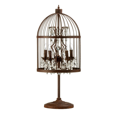 Antique Metal Birdcage Table Lamp-Lighting-Retail Therapy Interiors