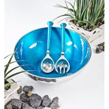 Aqua Salad Bowl With Servers-Kitchenware-Retail Therapy Interiors