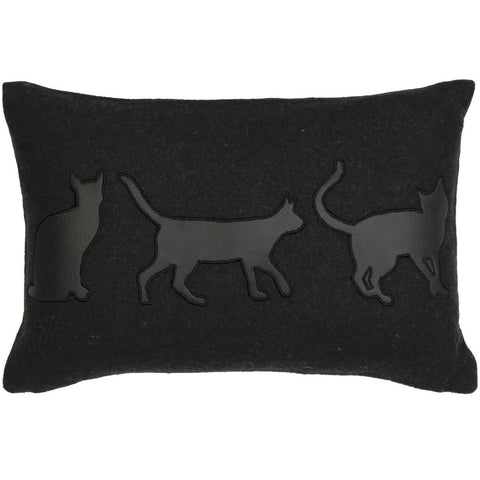 Black Cats Silhouette Cushion-Soft Furnishings-Retail Therapy Interiors