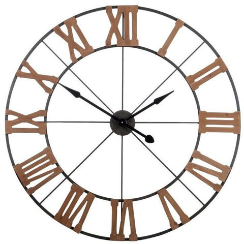 Black Metal Skeleton Wall Clock 100cms-Clocks-Retail Therapy Interiors