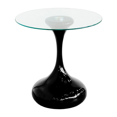 Black Round Glass Top Side Table-Furniture-Retail Therapy Interiors