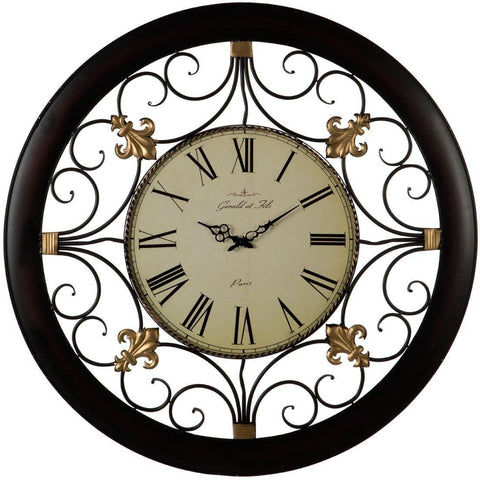 Black Scroll Detail Clock 92cm-Clocks-Retail Therapy Interiors