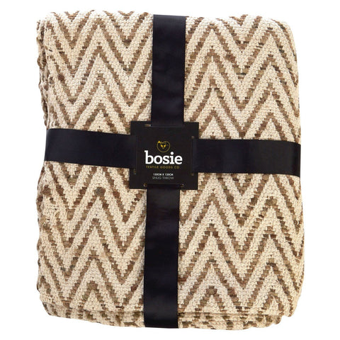 Bosie Woven Chevron Throw, Natural-Soft Furnishings-Retail Therapy Interiors