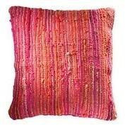 Braided Jute and Cotton Cushion Pink-Soft Furnishings-Retail Therapy Interiors