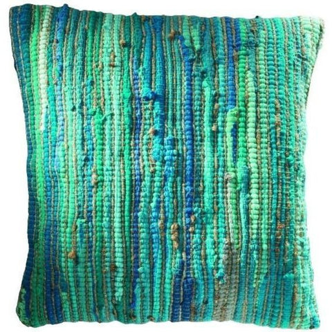 Braided Jute and Cotton Cushion Turquoise-Soft Furnishings-Retail Therapy Interiors